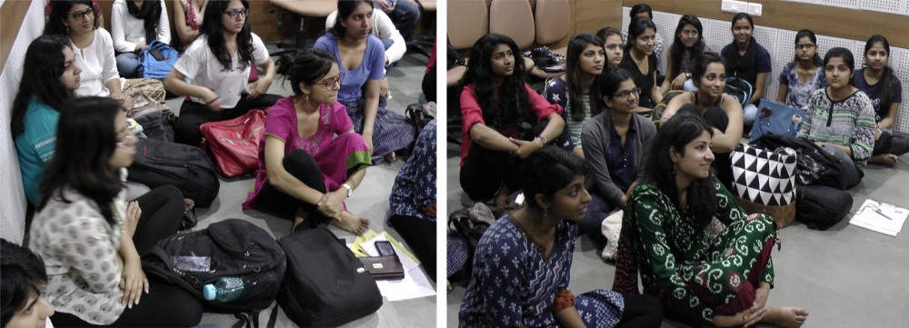 Students from the Shri Ram College of Women at the post-screening discussion